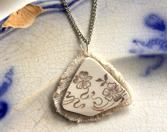 Broken china jewelry - china pendant necklace with chain - antique china shard on linen pendant - Art Nouveau - white with reflective gold