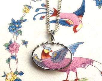 Broken china jewelry - china necklace pendant - antique colorful bird of paradise - made from antique broken china 1920