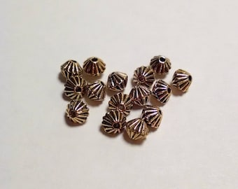 15 Small Spacer Beads, Antique Gold, Jewelry Findings, DIY, Supplies, Christian Charms