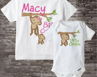 Big Cousin Little Cousin Shirt set of 2, Sibling Shirt, Personalized Tshirt with Cute Monkeys (06192014b)