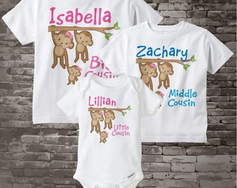 Set of Three, Personalized Big Cousin Girl, Middle Cousin Boy, and Little Cousin Monkey Girl Tee Shirts or Onesies 03262014b