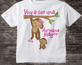 Spanish I'm Going to Be A Big Sister Shirt, Big Sister Onesie, Personalized Voy a ser una Hermana Mayor 07022012a