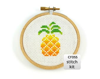 Pineapple cross stitch kit, tropical cross stitch kit, diy kit, diy cross stitch, kitchen cross stitch kit, geometric cross stitch, beginner