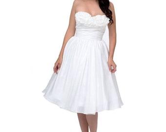 Strapless Ivory Unique vintage swing dress - Size XL