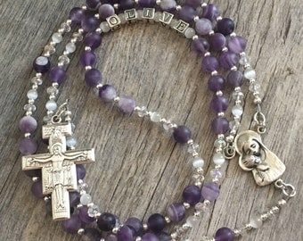 Baptism Rosary, Baptism gift, Christening gift, First Communion gift, Confirmation gift, Wedding rosary, gemstone, sterling silver, engraved
