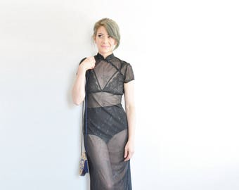 sheer black asian cheongsam dress . translucent far east fantasy gown .small