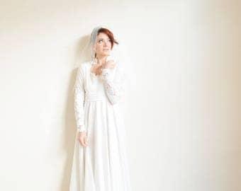 stunning bohemian wedding gown . soft ivory lace vintage bridal dress .medium .donate good cause