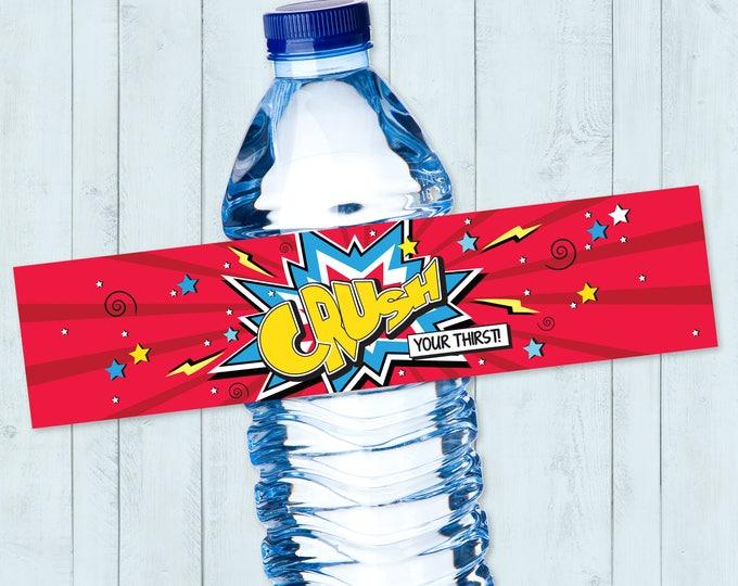 Superhero Water Bottle Label, Superhero Party, Superhero Party, Superhero Birthday | DIY Instant Download PDF Printable