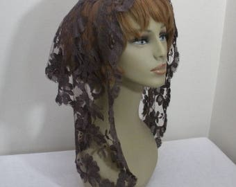 Vintage Dark Brown Lace Mantilla - Church Head Covering