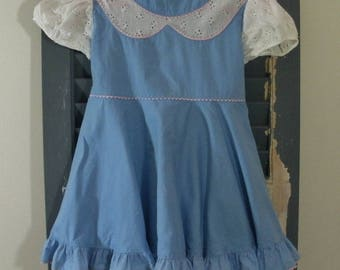 Vintage Blue Ruffled Toddler Girls Dress - Tiny Town Togs Size 3