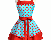 Womens Ruffled Retro Apron - Sexy Turquoise Red Polka Dot Flirty Rockabilly Vintage Style Cute Apron to Personalize or Monogram (DP)