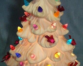 "Vintage Ceramic Christmas Tree Holland Mold Bird Lights 10"""