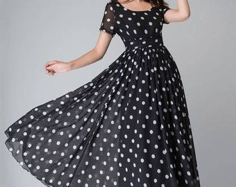 Polka dot dress, black and white dress, empire waist dress, maxi dress, summer dress, short sleeves dress, party dress, Evening dress 1515