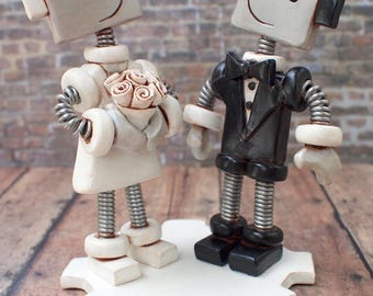 Robot Wedding Cake Topper READY TO SHIP Cute Bots Light Rustic Antiqued Finish | (4.5  inches)
