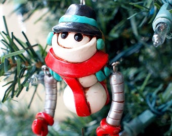 SNOWMAN Snowbot Set Robot Jet-Pack WIGGLY ARMS Geeky Christmas Ornament
