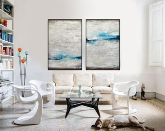 Set of 2 Original Abstract Paintings Large Diptych Paintings Contemporary Art Two Piece Gray Blue Oil Painting Wall Art - Sky Whitman