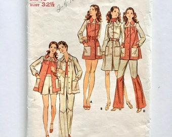 Vintage Sewing Pattern, Women's 70's Butterick 6548, Dress, Top, Pants And Shorts (XS)