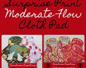 Surprise Print Cloth Moderate Flow Pad with Wings, Menstrual Pads, Reusable Cloth, Cotton