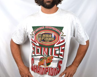 Vintage 1990s Seattle Supersonics Sonics NBA Tee Shirt TShirt