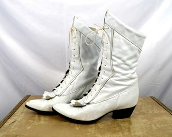 Vintage Durango 80s Tall White Leather Boots - Size 7