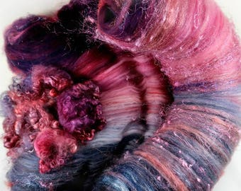 Black Raspberry Wild Card Bling Batt for spinning and felting (4 ounces), batt, art batt