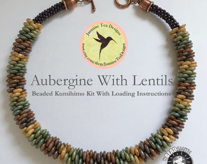 Aubergine With Lentils Necklace, A Fully Beaded Yatsu Kongoh Gumi Necklace With Lentils And Seed Beads, Beaded Kumihimo Kit