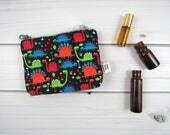 Ity-Bity Zipper Pouch - Tiny Dino - dinosaur mini change pouch essential oil bag coin Zip Wallet kids oil bag clutch