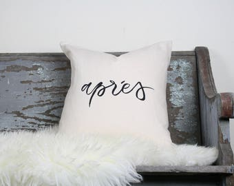 "18""x18"" Natural Colored Linen with Black Ink ""Aprés"" Pillow Cover"