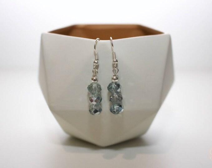 Mermaid Silver Blue Drop Earrings.
