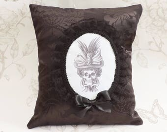 Steampunk gothic skeleton cameo pillow- lady skull pillow- gothic cameo pillow-cushion black floral damask-halloween -macabre-home decor