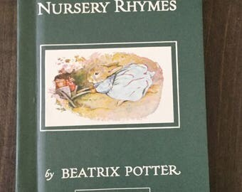 Cecily Parsley's Nursery Rhymes by Beatrix Potter, Hardcover with Dust Jacket, Green Boards, vintage illustrated children's book