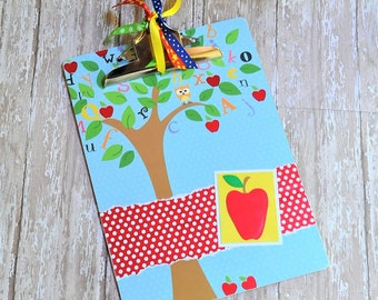 Altered Clipboard, School Themed Clipboard, Apple Clipboard, Pretty Clipboard, Teacher Gift, Decorated Clipboards, Designer Clipboard