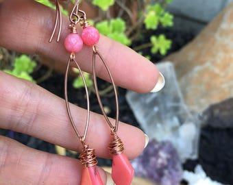 Pink Coral Earrings, Wire Wrapped, Copper, Pink Gemstone Crystal Earrings, Bohemian Boho, Antique Copper, Copper Earrings, Shells, Beach