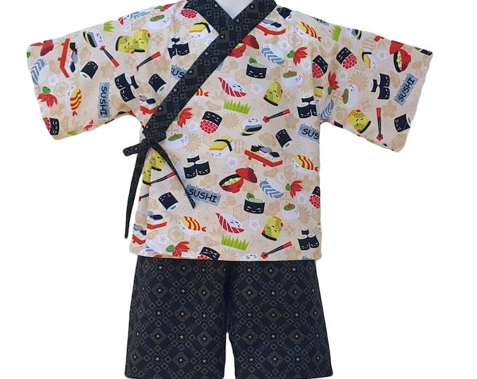 Kids Kimono Jinbei - SUSHI FEVER - Japanese casual wear boys girls baby toddler jinbei