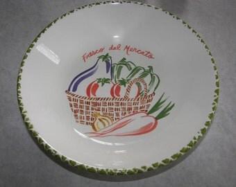 Reduced Italian Bowl  Fresco del Mercatol by Roma handpainted  Basket w vegetables