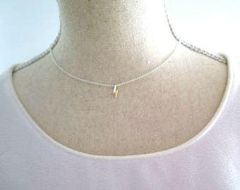 Lightning bolt necklace sterling silver, Tiny lightning bolt, Gifts for her, Silver lightning, Lightning bolt charm, Gift ideas for her