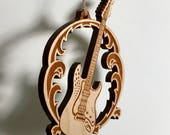 Electric guitar ornament (right handed) - solid cherry wood