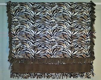 Fleece Blanket - Hand-Tied Fringe Throw - Animal Theme - Tiger Stripes