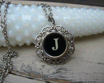 Typewriter Key Jewelry - Letter J Necklace