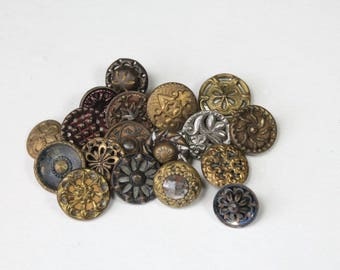 18 Vintage Victorian Metal Buttons Antique Small Buttons Sewing Buttons Mixed Lot Fancy Buttons Tinted 1800s