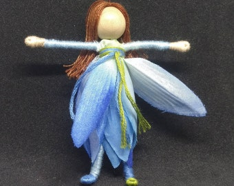 Blue Water Lily Flower Fairy, Garden Fairy, Fairy Doll, Waldorf doll, Art doll, Pixie