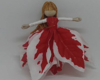 Christmas Fairy, Waldorf Flower Fairy Doll - red and white Poinsettia Fairy