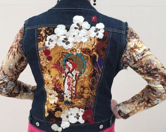 Summer of Love: Heavily Embellished Art To Wear Jean Jacket. Desigual Style-Perfect Festival Wear.