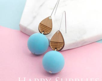 1 Pair (SBW21F) Silicone Balls Laser Cut Geometric Wooden Dangle Earrings - HEW Series - Ocean Sea Summer Beach