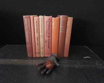 Vintage Soft Muted Shades of Coral - Colorful Books - Hardcover Used Book Stack - Instant Library - Bookshelf Decor