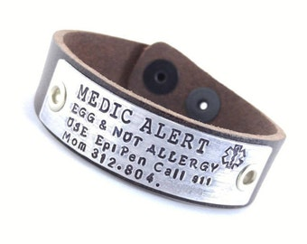 Medical Bracelet Personalized Leather Custom Personalized Medical Alert Peanut Allergy Diabetes Bracelet