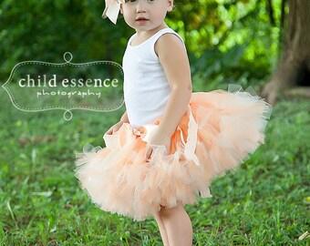 Baby Girls Birthday Tutu Dress, Peach Birthday Dresses for Toddler Girls, Cake Smash Outfit and Birthday Photo Props, Cakesmash Sets