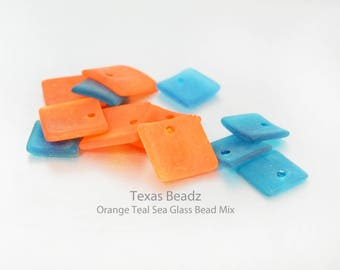 Orange and Blue Aqua Teal Square Sea Glass Beads Frosted Recycled Glass Curved Drops