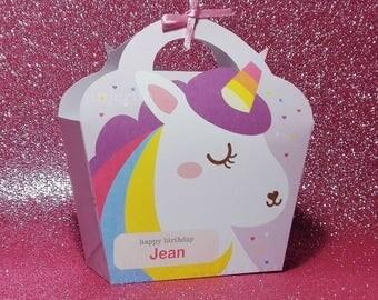 Kawaii Purple Unicorn Giftbag Cute Rainbow Love Birthday Party Treat basket Bag Packaging Editable Printable PDF