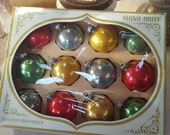 Reserved for Sharon, SHINY BRITE Classic Mid Century Colors Glass Christmas Ornaments RETRO Box of 12